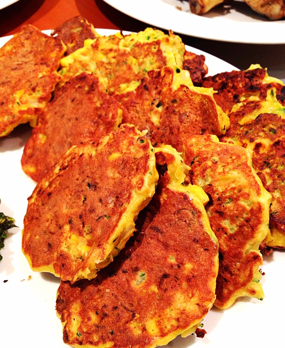 corn and zucchini fritters in pan3