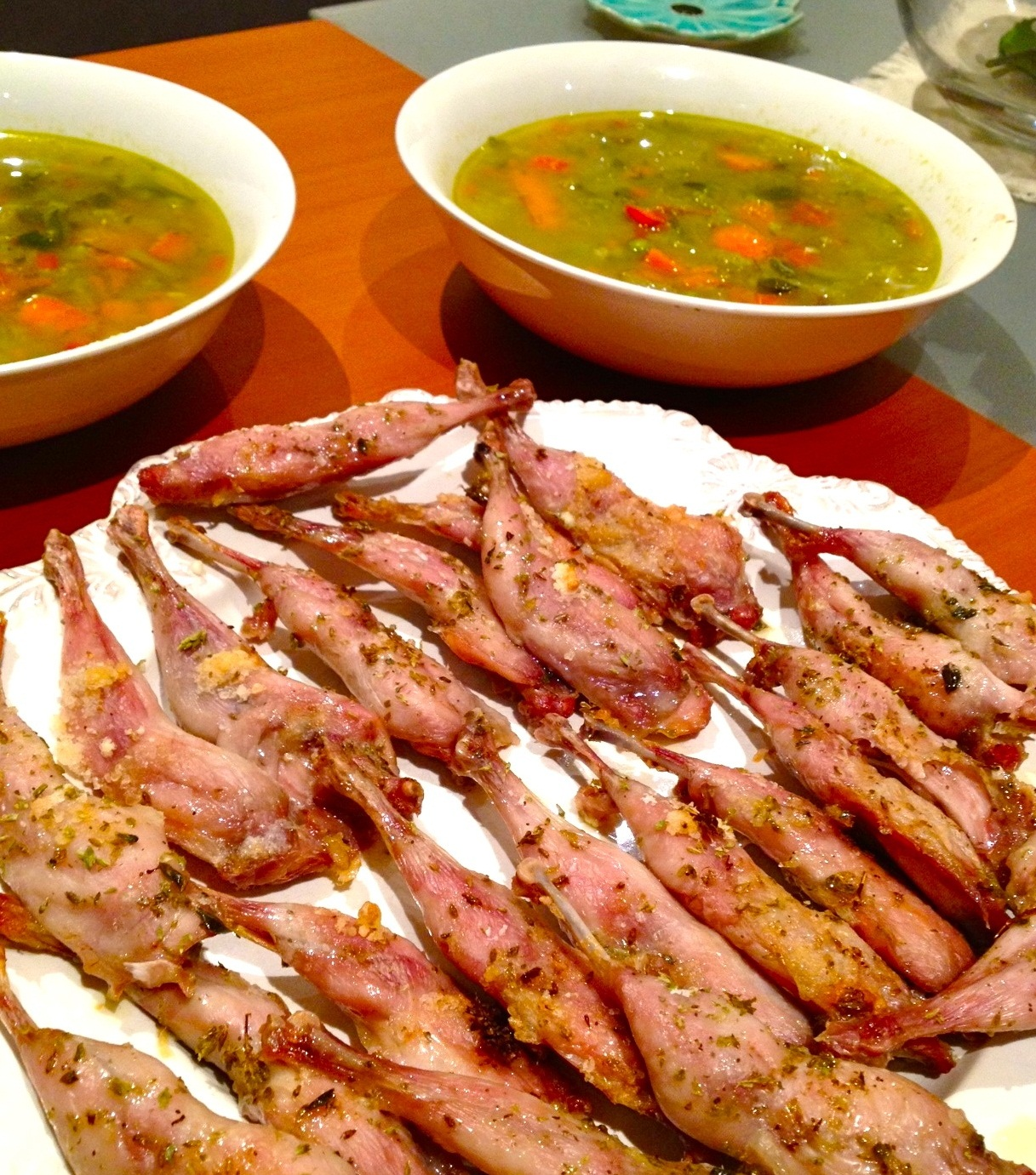 quail legs and minestrone soup