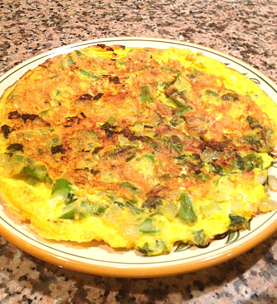 asparagus and spring onion omellette