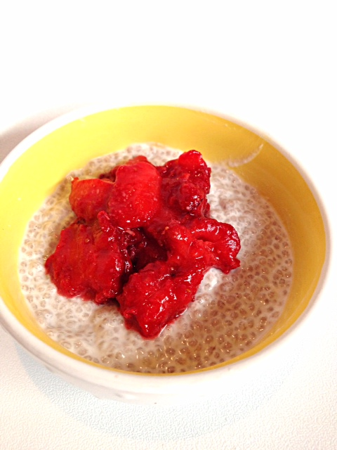 Vanilla Chia Pudding with Strawberry Compote